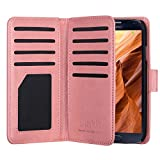 Galaxy S4 Case, S4 Case -ULAK Multi Card Slots Series PU Leather Magnetic Wallet Case Cover for Samsung Galaxy S4 IV i9500 (Coral Pink)
