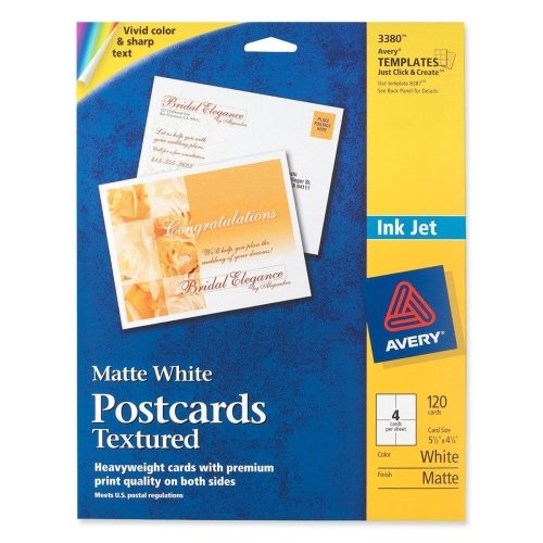 Wholesale CASE of 15 - Avery Textured Post Cards-Post Cards,Textured,Card Size 4-1/4''x5-1/2'',Matte,120/BX,WE by AVE (Image #1)