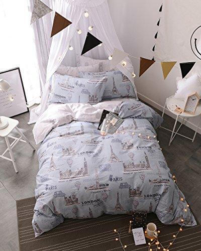 London Twin Bed (Papa&Mima Paris London Cute Brief Cartoon Style Duvet Cover Set Flat Sheet Pillow Cases 500TC Soft Cotton Fabric 3Pcs Twin Size Bedding Sets)