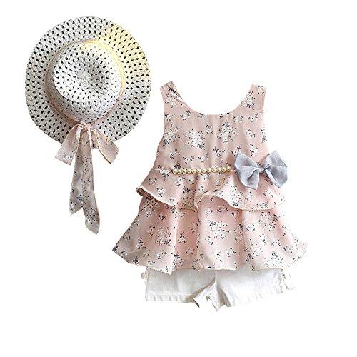 Yalasga 3PCS Little Girls Summer Outfits Clothes Floral Vest T-Shirt Tops +Shorts Pants+Sun Hat Set (Pink, 2T) by Yalasga