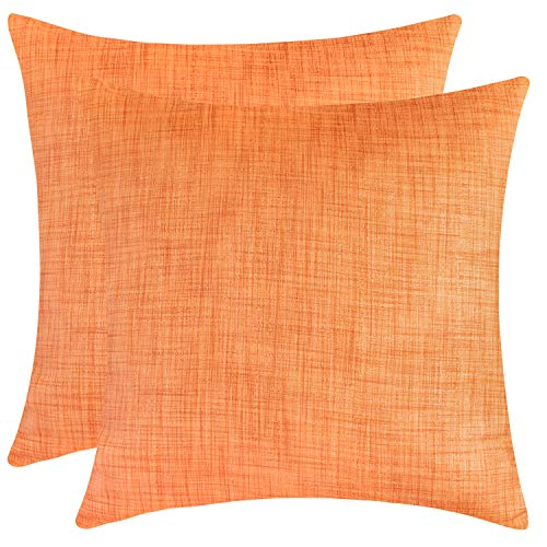 The White Petals Orange Euro Pillow Covers for Bed (26x26 inch, Pack of 2) (Euro Sham Orange)