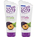 Bare Foot Freeman Foot Lotion and Scrub, Peppermint and Plum, 2 Count