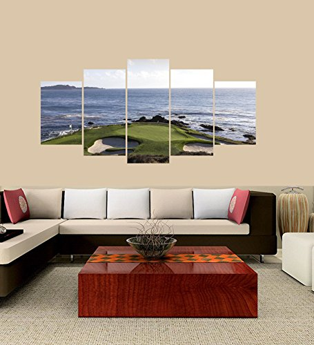 PEACOCK JEWELS Premium Quality Canvas Printed Wall Art Poster 5 Pieces / 5 Pannel Wall Decor Pebble Beach Golf Course Painting, Home Decor Pictures - with Wooden Frame