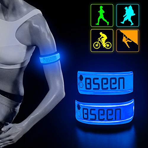(BSEEN LED Armband 2 Pack LED Slap Bracelets, Adjustable Strap Safety Light Armbands Glow in The Dark Night Running Gear for Jogging, Walking, Cycling, Camping Outdoor Sports (Blue))