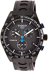 Black PVD stainless steel case with a black rubber strap. Fixed black ceramic bezel showing tachymeter markings. Black carbon dial with luminous silver-tone hands and index hour markers. Minute markers around the outer rim. Dial Type: Analog....