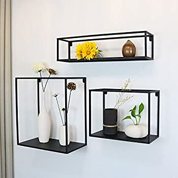 WGX The Industrial Metal Wall Decor Display Shelf Box 3 Shelves Set Wall  Mounted Floating Display