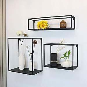 WGX The Industrial Metal Wall Decor Display Shelf Box 3 Shelves Set Wall  Mounted Floating Display