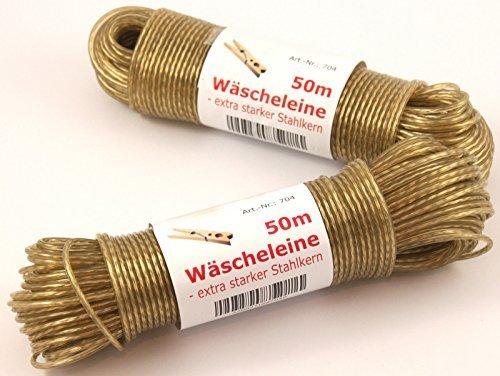 Wäscheleine 50m Stahlseil wetterfest !! Top Qualität mit Stahlkern (transparent)