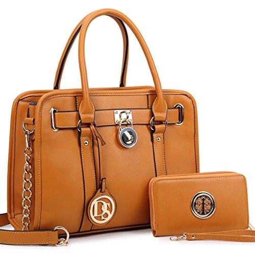 Dasein Women's Satchel Handbags Designer Padlock Purses Shoulder Bags Work Bags w/Chain Strap by Dasein