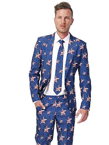 Suitmeister Patriotic Flag Suits Outfit Colors,X Large,Stars and Stripes