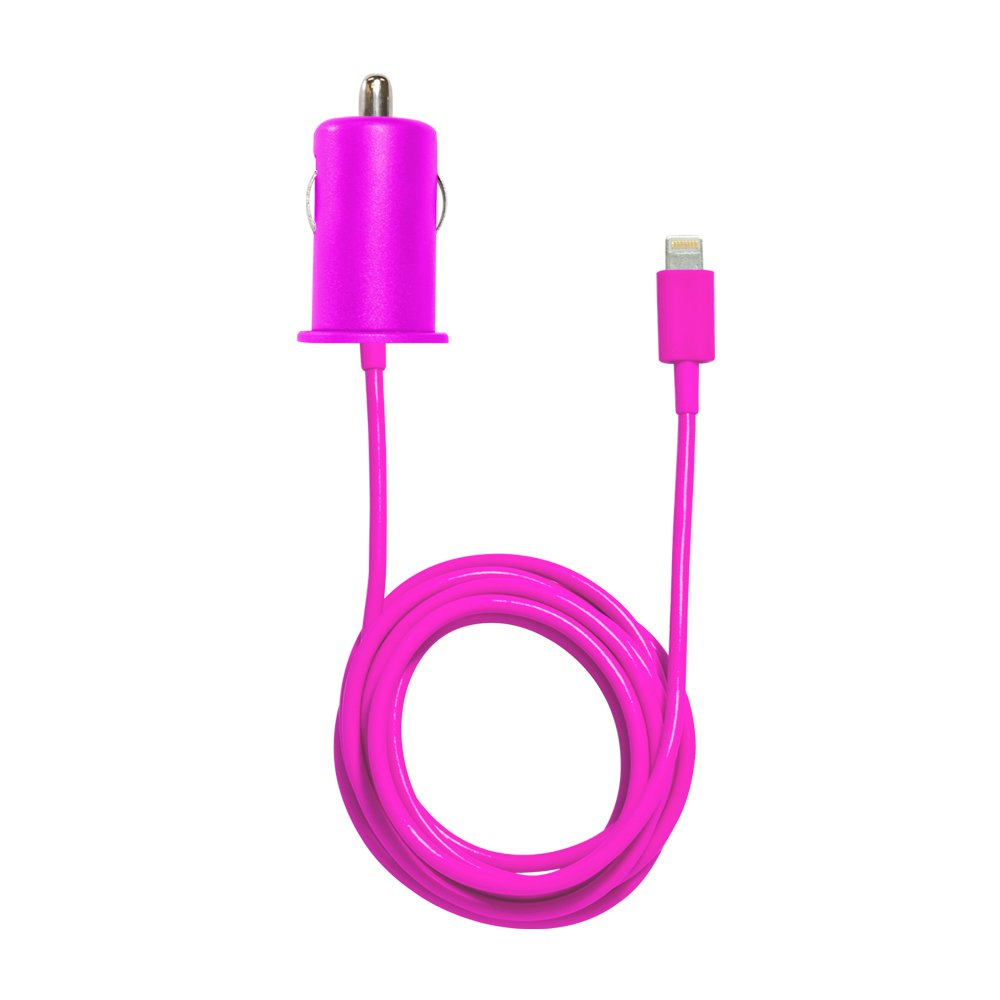 iHome Smart Charger, 1 Amp Car Charger with Fixed Lightning Cable - Pink