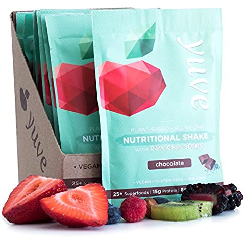 Yuve Vegan Protein Powder with Superfoods - Award Winning Taste - Complete Nutritional Shake - Natural Greens, Plant Based, Non-GMO, Gluten, Dairy, Soy & Lactose Free (Chocolate) 10-Pack(35.5g)
