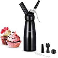 Wonyered Cream Dispenser Whipped Cream Maker 0.5L Small Cream Whipper with 3 Decorating Nozzles and Cleaning Brush