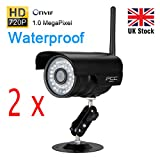 FLOUREON 2 Packs HD 1280 x 720p H.264 Wireless IP Camera Video Monitoring with IR-Cut Filter 36 IR LEDs Night Vision Home Security Cameras