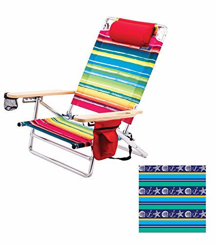 Deluxe Pillow Lay Flat 5 Position Aluminum Chair (Marine Pattern) Pkg/1 by RIO Gear