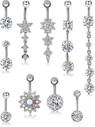Blulu 10 Pieces 14 G Stainless Steel Belly Button Rings Shiny Flower Navel Rings Belly CZ Dangle Zirconia for Women, 10 Styles (Style Set - Dangle Style Ring Navel