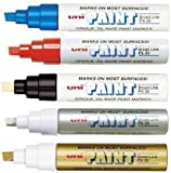 Uni Coloured Paint Marker Pen Multi Surface Oil Based Opaque Outdoor Marking (Black Broad Chisel Tip PX-30)