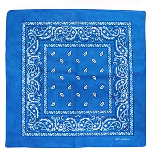 Charlotte 12Pcs Bandanas 100% Cotton Paisley Print Head Wrap Scarf Wristband (Turquoise)