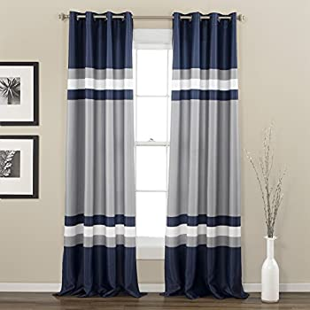 Awesome 2 Piece 84 Inch Navy Silver Grey Rugby Stripes Curtains Pair Panel Set,  Blue Color