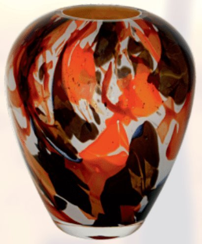 Handmade Barrel Glass Vase - Abstract Autumn Decor - Brown and Orange - Mouth Blown Lead Free Glass - Decorative Vase Centerpiece - 8.6 inch (22 cm) ()