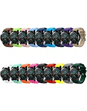 Docooler 22mm Watch Band Silicone Watch Strap Band Set Pack Wristband Replacement with Buckle Stripe Surface Compatible with HUAWEI WATCH GT 2 46mm / HONOR MagicWatch 2 46mm 18PCS/Pack
