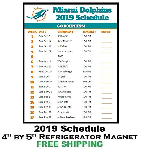 photo regarding Miami Dolphins Printable Schedule named : Miami Dolphins NFL Soccer 2019 Timetable and