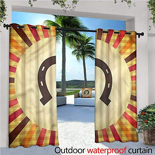 warmfamily Horseshoe Fashions Drape Starburst Vintage Lines Outdoor Curtain Waterproof Rustproof Grommet Drape W72 x L108 (Shoes Basketball T-mac)