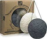 ArtNaturals Konjac Facial Sponge Set, Oily and Acne Prone Skin, Best Beauty Facial Scrub for Gentle Deep Cleaning and Exfoliation, Charcoal Black/Natural White, 2 Piece