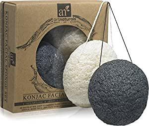 ArtNaturals Konjac Facial Sponge Set - 2 Pack (Charcoal Black and Natural White) - Natural Great for Sensitive, Oily and Acne Prone Skin - Beauty Facial Scrub for gentle deep cleaning and exfoliation