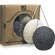 ArtNaturals Konjac Facial Sponge Set - 2 Pack (Charcoal Black & Natural White) 100% Natural Great for Sensitive, Oily & Acne Prone Skin -Best Beauty Facial Scrub for gentle deep cleaning & exfoliation