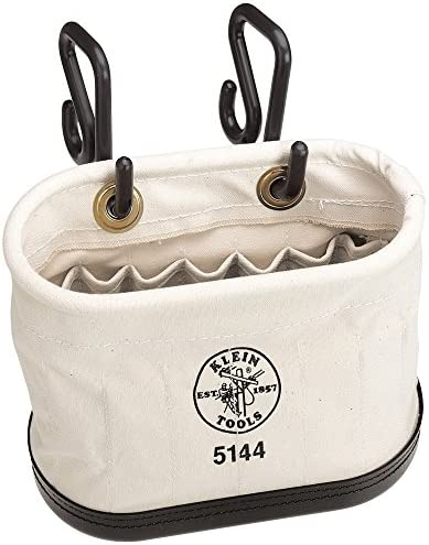 Klein Tools 5144 Aerial Oval Bucket Made of No. 6 Canvas with Black Molded Polypropylene Bottom, with Hooks, 15-Pockets