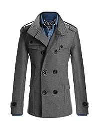 XIUWU Men's Pea Coat Wool Jackets Double Breasted Outwears