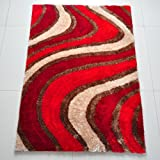 All New Contemporary Line Design Shag Rugs by Rug Deal Plus (5' x 7', Red/Beige)