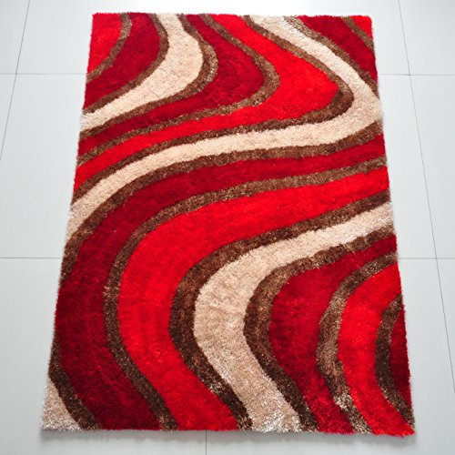 All New Contemporary Line Design Shag Rugs by Rug Deal Plus (5' x 7', Red/Beige) by Rug Deal Plus