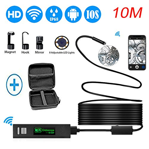Wireless Endoscope,8mm Wifi Endoscope Camera HD 1200P Borescope Inspection Camera Snake Camera with 10M Cable for ISO and Android, iPhone, Samsung, Tablet - Black(33FT)