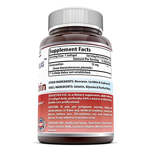 Amazing Formulas Astaxanthin Dietary Supplement - 12Mg - 120 Softgels - Promotes Healthy Skin amp Eyes - Powerful Antioxidant - Anti-Inflammatory Properties Discount