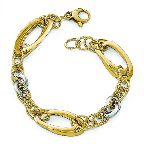 Or bicolore 14carats poli Mabelle Fancy-Bracelet Lien-20cm