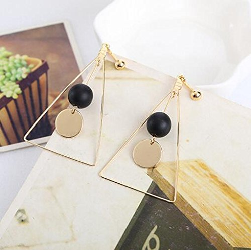 Clip on Earring Large Triangle Dangle Clip for non Pierced Gold Plated Fashion for teen