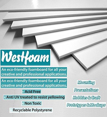 A4 (210mm x 297mm) White Foam Board Mount Board 3mm Thick Foam Foamex PVC Sheet Sign Display Model Backdrop Craft (3 Sheet) by West Design by West Design