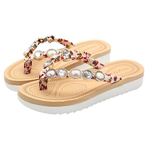 Cristal de Mujeres del de Zapatilla dedo grueso Sandalias TM pie fondo Bohemia moda redondas del Adolescentes playa Zapatilla Nueva colorida de verano roja PYpqYF
