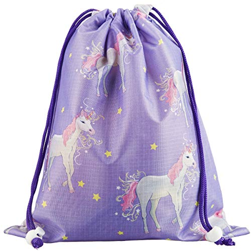 (Designhoarder Magical Unicorn Birthday Party Favor Bags for Kids Adults 10 Pack Unicorn Baby Shower Princess Party Supplies Drawstring Goodie Bags Gift Bags Loot Bags Purple )