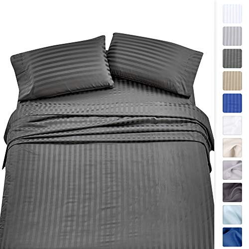 California Design Den High Thread Count Sheet Set -100% Long Staple Combed Cotton, Woven Dobby 500 TC Damask Stripe Satin Sheets Twin XL, Grey, OekoTex Certified Hotel Quality Bedding Set ()