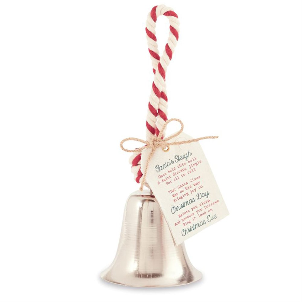 Mud Pie Santa's Bell with Rope Christmas Holiday Decoration