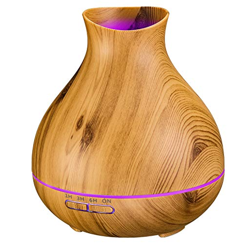 BZseed Essential Oil Diffuser 550ml 12 Hours Aromatherapy Humidifier Diffusers with Timer, Waterless Auto-Off, 7 Color Changing Lights, Wood Grain Cool Mist Aroma Diffusers for Essential oils for Home