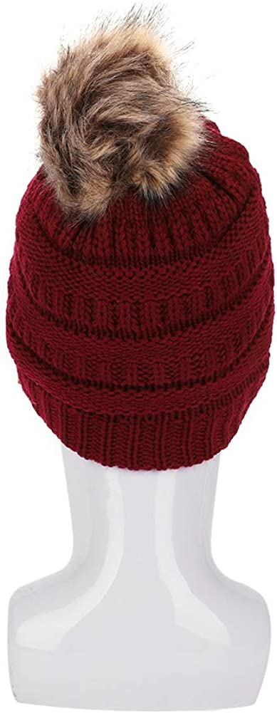 Knit Bobble Hat Winter Warm Wool Beanie Stretchy Faux Fur Removable Pom Hat Fleece Lined Skull Cap Chunky Hat Unisex Wine Red