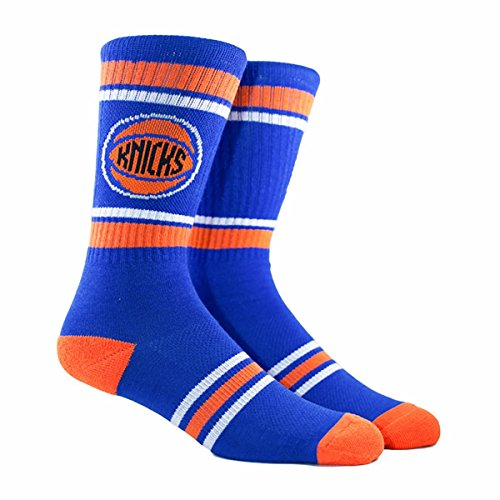 PKWY NBA Stripe Crew Socks (Several Teams Available) - Size Large Fits 6-12 (New York Knicks Blue)