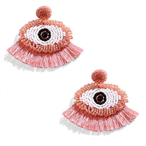 LILIE&WHITE Handmade Evil Eye Dangle Earrings Tassel Earrings For Women Boho Drop Earrings Jewelry