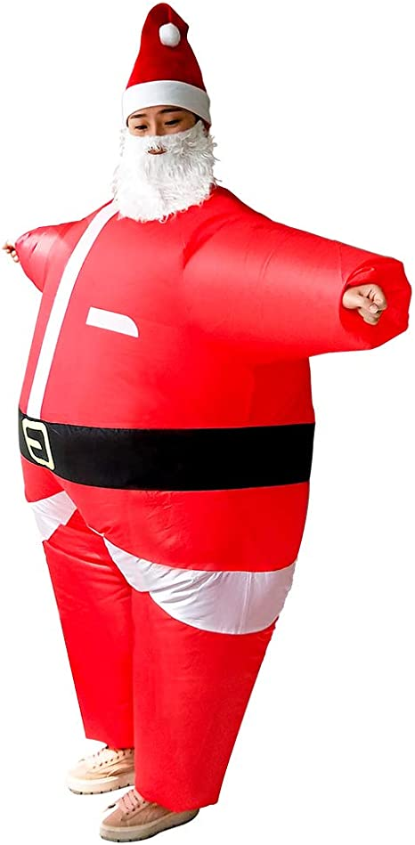 Details about  /Adult Kids Inflatable Christmas Santa Claus Party Fancy Dress Costume Cosplay