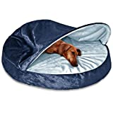 Cave Dog Bed Orthopedic Foam Fill - Hooded Pet Velvet Round Doggie Bedding - Best Enclosed Comfort & Removable - Washable Cover Bundle w Rope Toy