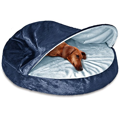 Cave Dog Bed Orthopedic Foam Fill - Hooded Pet Velvet Round Doggie Bedding - Best Enclosed Comfort & Removable, Washable Cover Bundle w Rope Toy